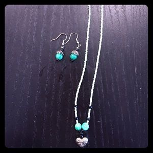 Happy Green Necklace and Earring Set.